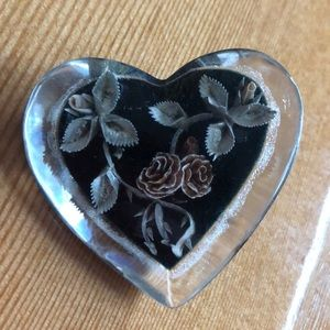 1930s large lucite floral heart 3D brooch